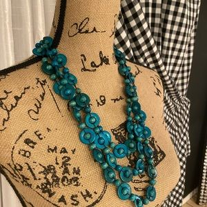 NWT turquoise wooden bead necklace